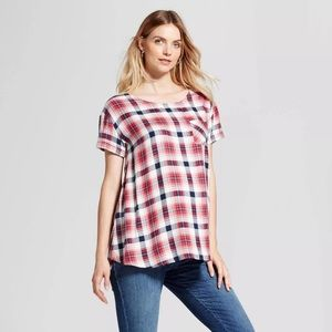 Maternity plaid tunic top